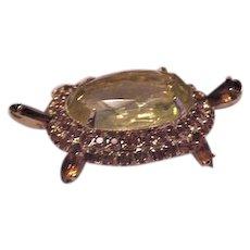 Rhinestone Turtle Pin