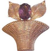 Vintage Coro Flower Basket PIn