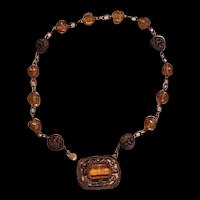 Brass and Topaz Glass Necklace
