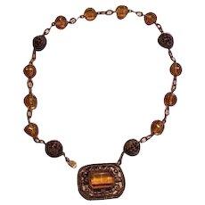 Brass and Topaz Glass Necklace