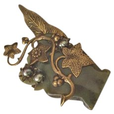 Jade and Brass Jan Michaels Pin
