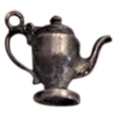 Antique Mechanical Teapot Charm Sterling Silver