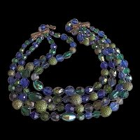 Hattie Carnegie  Blue Green Crystal Necklace