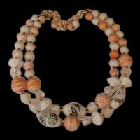 Crystals and Orange Sherbet Satin Glass Necklace