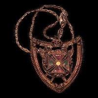 Enameled Heraldic Pendant Necklace