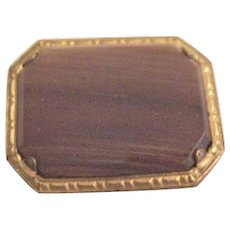 Brass and Agate Pin