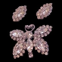 Rhinestone Butterfly Pin and Earrings