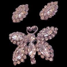 Rhinestone Butterfly Pin and Earrings