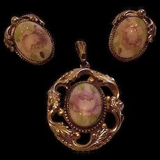 Whiting and Davis Pendant and Earrings