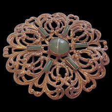 Large Filigree and Glass Pin
