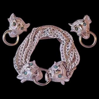 Vendome Big Cat Bracelet and Earrings