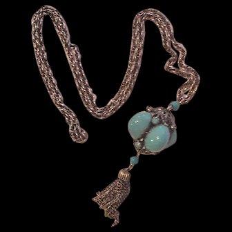 Robin's Egg Blue Long Tassel Necklace