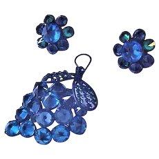 Schreiner Blue Rivioli Rhinestones Pin and Earrings