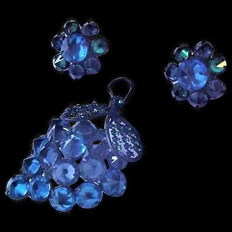 Schreiner Blue Rivioli Rhinestones Pin and Earrings