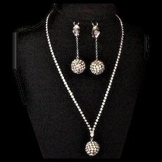 Rhinestone Disco Ball Necklace and Earrings