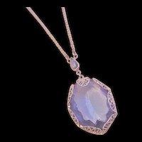 Azure Blue Rhinestone Lavalier Necklace