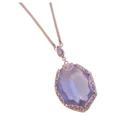 Azure Blue Rhinestone Lavalier Necklace