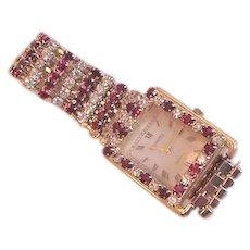 Red Rhinestone Wrist Watch Vintage Fabulous!