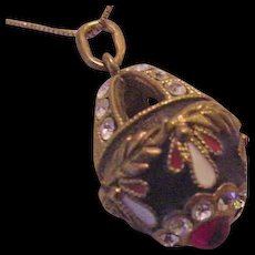 Russian Sterling Vermeil  Enamel and Rhinestone Egg Pendant Necklace