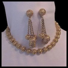 Monet Filigree Necklace and Earrings