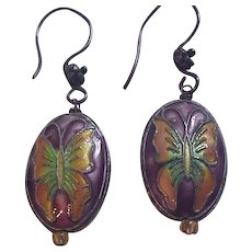 Chinese Polychrome Enamel Earrings