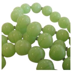 Long Strand Vaseline Color Glass Beads Necklace