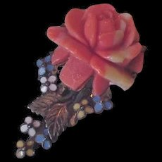 Celluloid Rose Dress Clip