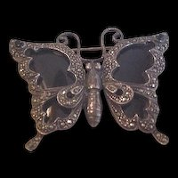 Art Deco Sterling Onyx and Marcasite Butterfly Pin