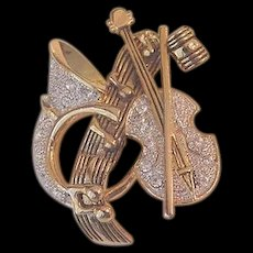 Rhinestone Horn and Violin Pin