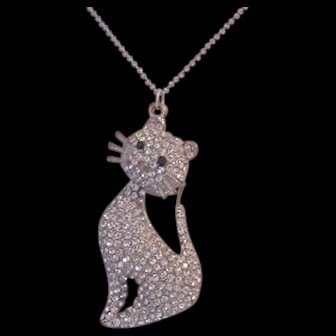 Large Rhinestone Cat Necklace