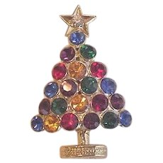 Rhinestone Christmas Tree Pin