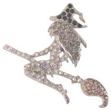 Rhinestone Witch on Her Broom Pin