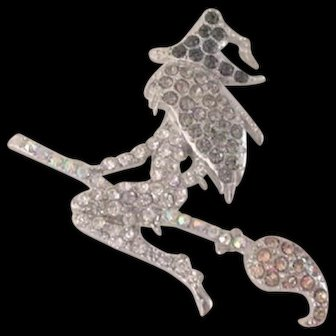 Rhinestone Witch on Her Broom Pin