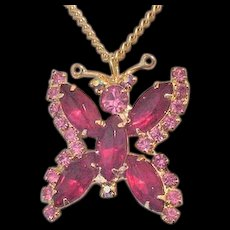 Red Rhinestone Butterfly  Pendant Necklace