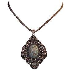 Large Italian Art Glass Medallion Necklace