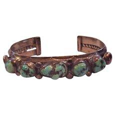 Vintage Sterling Silver and Natural Turquoise Bracelet