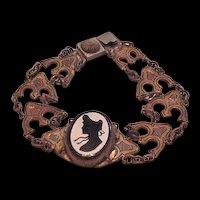 Vintage Enamel Silhouette Profile Bracelet