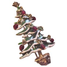 Christmas Tree Pin  Enamel Dangling Crystals