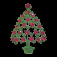 Christmas Tree Pin Green Enamel and Red Rhinestones