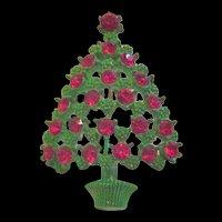Christmas Tree Pin Green Enamel and Red Rhinestones