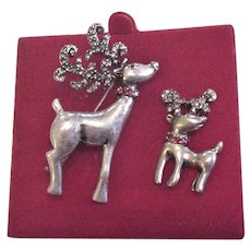 Christmas Reindeer Rhinestone Pin Set