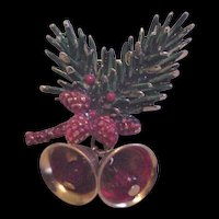 Art Christmas Bough and Bells Pin