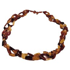Three Strand Amber Torsade Necklace