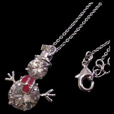 Crystal Snowman Pendant Necklace