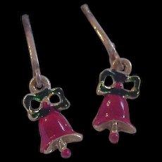 Vintage Christmas Bell Earrings in Original Box