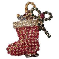 Rhinestone Christmas Santa Boot Pin