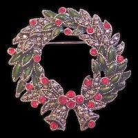 Rhinestone Christmas Wreath Pin