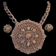 Trifari Huge Medallian Necklace Pin Combination with Earrings