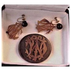 Victorian Pin Pendant and Earrings