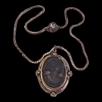 Victorian Revival Brass and Black Glass Cameo Necklace